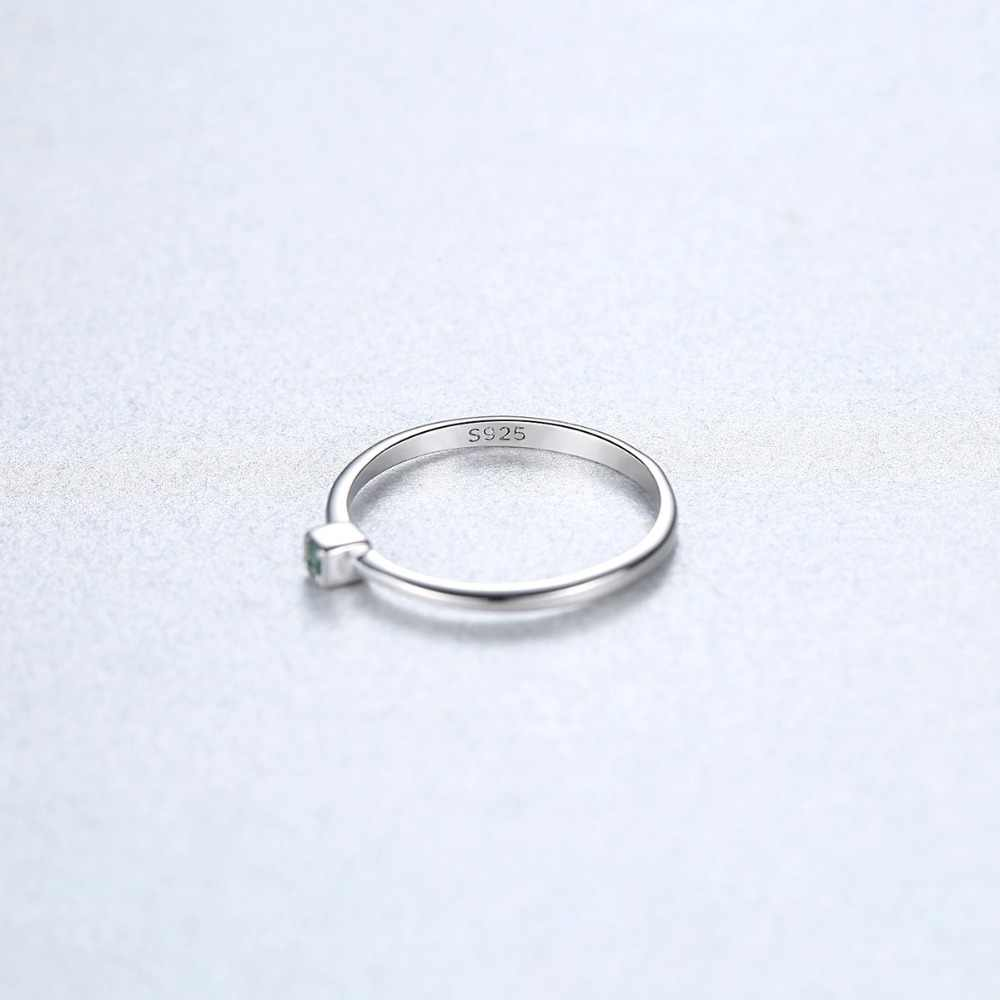 CZCITY ของแท้ 925 เงินสเตอร์ลิง VVS สีเขียว Topaz Wedding แหวน Minimalist บางวงกลมแหวนอัญมณีเครื่องประดับแกะสลัก S925