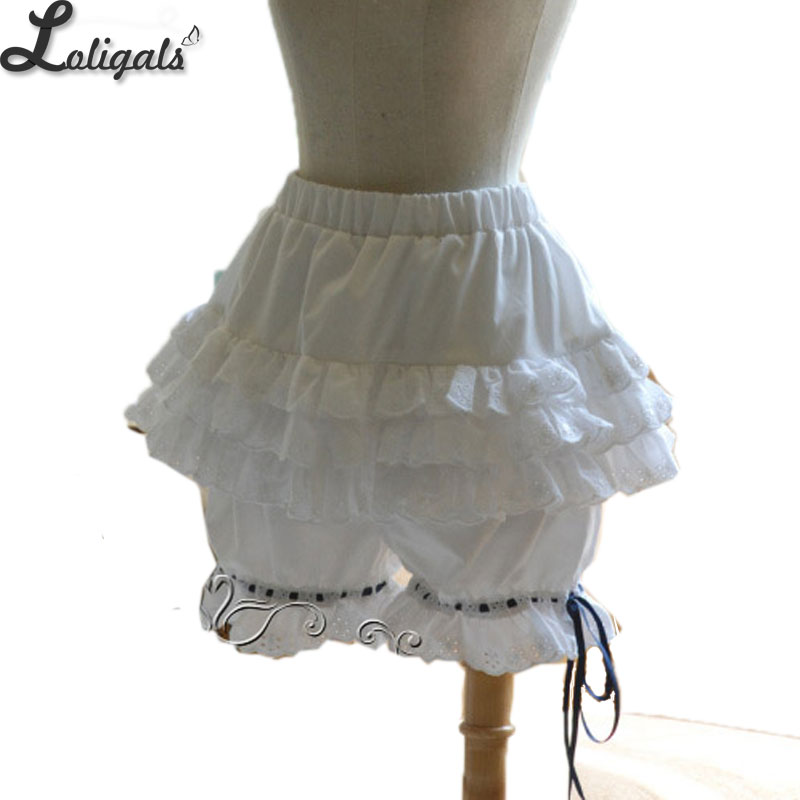 Sweet White Lolita Bloomers Women's Elastic Waist Cotton Cosplay   Shorts   with Lace Detailing
