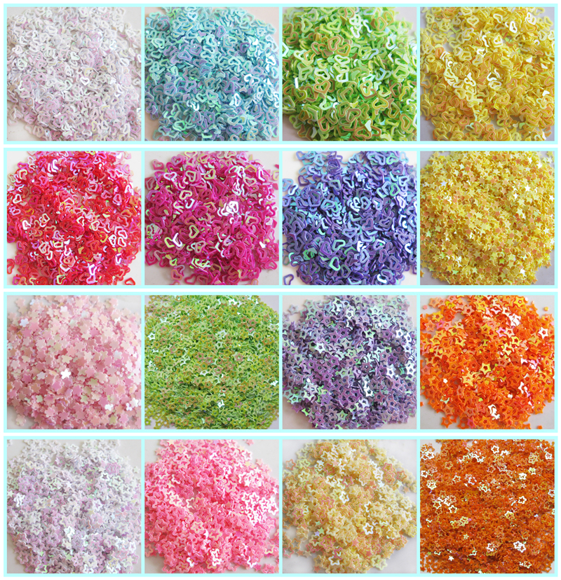 New Hot 20g 3mm sequins star/Love Heart shape PVC loose Sequins Paillettes Nail Art manicure/sewing/wedding decoration confetti