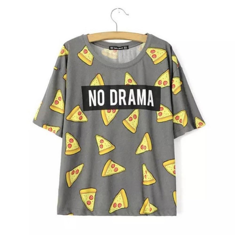 T shirt Women Cute Pizza NO DRAMA Letters Print Short Sleeve Tops Shirts Casual Camisas Femininas Tops S1