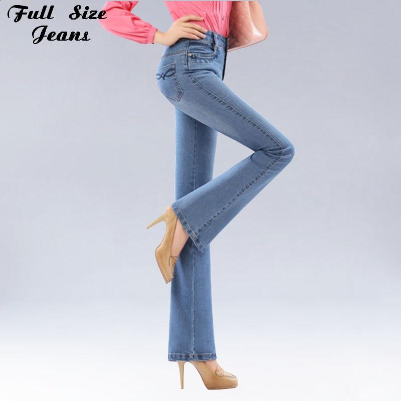 Autumn High Waist Flare Jeans Pants Plus Size Stretch Skinny Jeans Women Wide Leg Slim Hip