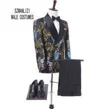 2017 New Elegant Brand Wedding Mens Suit Flower Double Breasted Suit For Men Slim Fit Groom Tuxedo Blazer Costume Homme Mariage