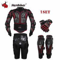 HEROBIKER Motorrad Jacke Schutz Getriebe Motorrad Racing Körper Rüstung + Getriebe Kurze Hosen + Motor Knie Protector + Moto Handschuhe