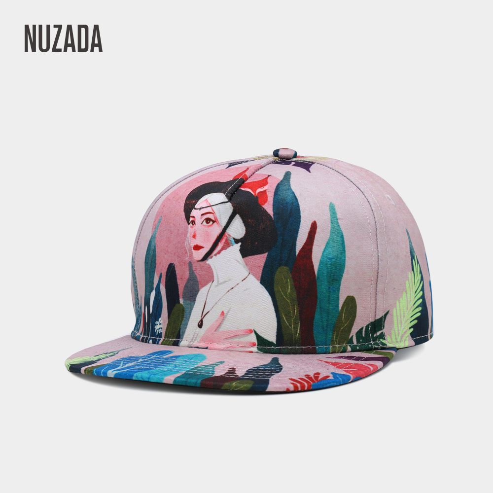 NUZADA Original Design Style HD 3D Printing Fashion Paris Girl Men Women Couple Hip Hop Cap Caps Spring Summer