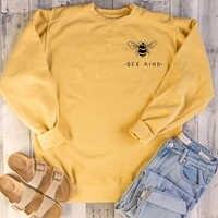 Bee Art Kawaii Frauen Sweatshirt Bienen Tasche Drucken Sweatshirts Kausal Japanischen Frauen grunge tumblr grafik Pullover zitieren tops
