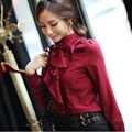 2017 Candy Color Fashion Women Solid Work Shirts Size XS-2XL Turtleneck Button Decorated Collar Design Lady Formal Blouse J1346