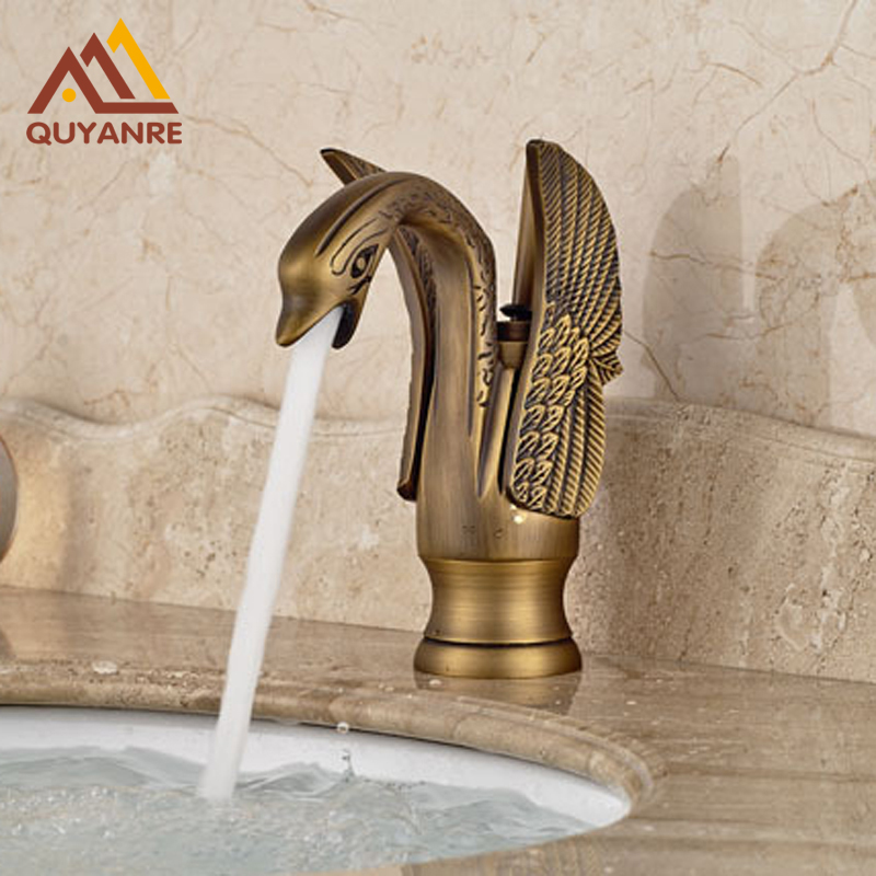 Wholesale And Retail Swan Bathroom Sink Faucet Solid Brass Hot And Cold Water Taps Antique Brass
