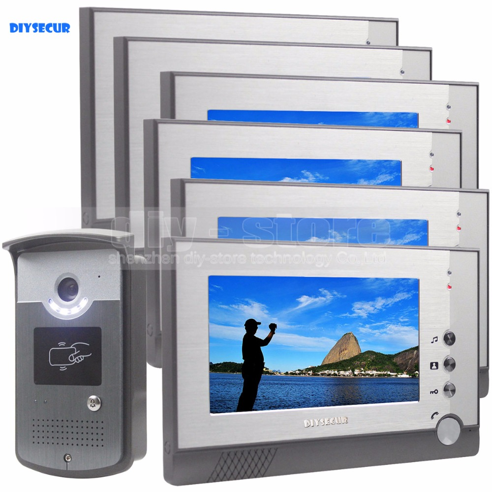 DIYSECUR 7inch Video Door Phone LED Night Vision RFID Unlocking Home Security Intercom System 1-Camera 6-Monitor diysecur 7inch hd screen video door phone intercom hd outdoor unit camera night vision system 1 camera 1 monitor v70t f
