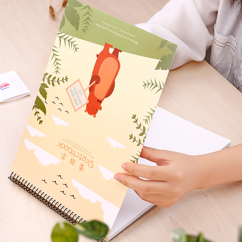 Cute student A4 sketchbook Flip coil sketch hand-painted Childrens drawing art books spiral 100 sheets school & office supplies
