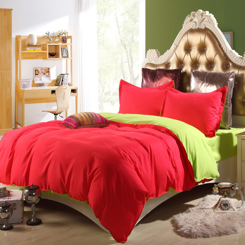 Red/Green 4PCS Bedding Set bed linens 4pcs/set duvet cover set sheet AB side pillowcovers bedding clothes