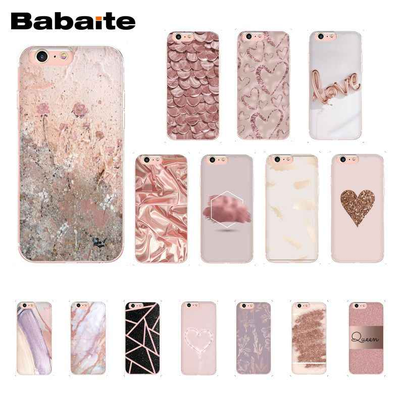 Babaite ouro rosa amor coração caso de telefone para iphone 11 pro 11pro max 8 7 6 s plus x xs max 5 5S se xr
