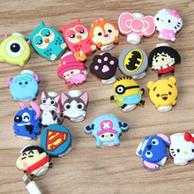 Lovely 30pcs/lot Cartoon USB Cable Earphone Protector headphone line saver For Samsung HTC charging line data cable protection