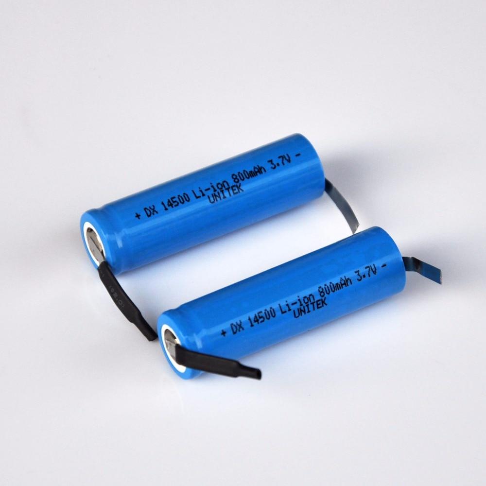 2-4 Uds AA de 3,7 V recargable batería de iones de litio de 800mah 14500 Li-ion celular de pestañas para máquina de afeitar eléctrica de afeitar cepillo de dientes