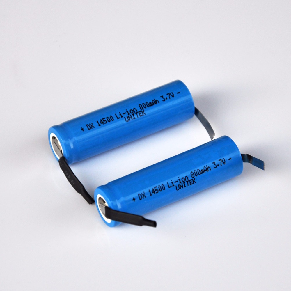 2-4PCS <font><b>3.7V</b></font> AA rechargeable lithium ion battery 800mah <font><b>14500</b></font> li-ion cell soldering tabs for electric shaver razor toothbrush image