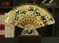 TOP COOL foreign business gift with box CHINA National Treasure Panda ART gilding fan copper statue Collector Edition GOOD