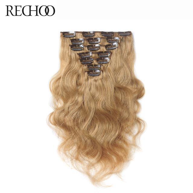 Rechoo Peruvian Body Wave Non Remy Hair Clip Ins Hair Extension 120