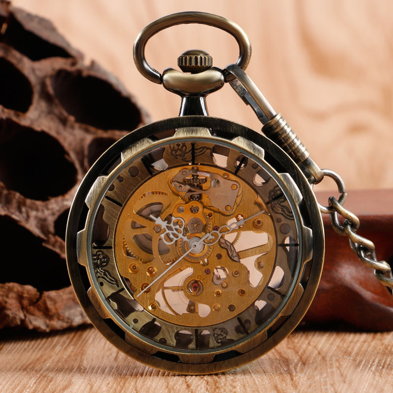 Open Face Trendy Stylish Transparent Skeleton Steampunk Retro Bronze Hand-winding Mechanical Pocket Watch Fob Chain Pendant Gift