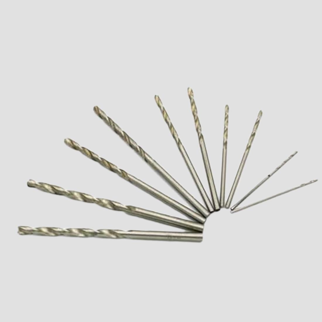 10pcs Micro HSS Drill Bits 0.5-3mm Straight Twist Drill Bits White Steel Drill Bits For Dremel Rotary Tool Wood Drill Bit