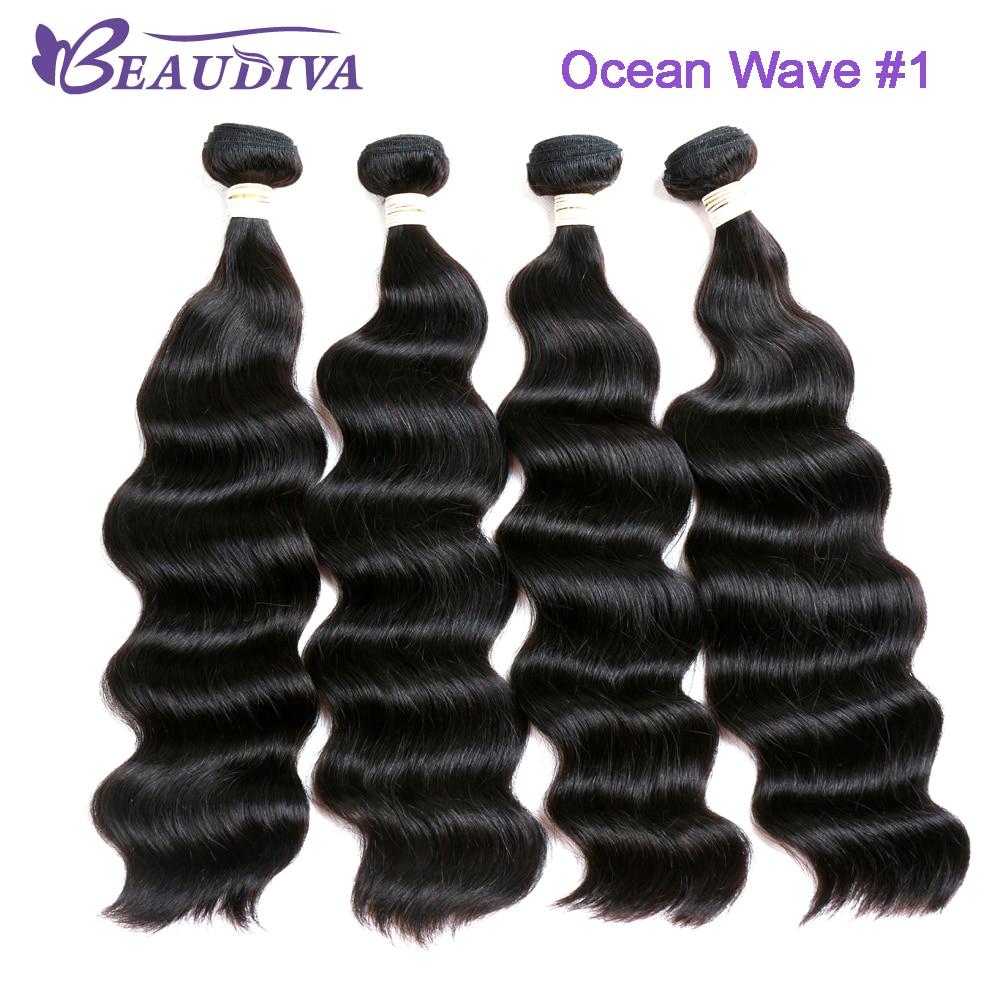 Expressive Beaudiva Hair Ocean Wave 4pcs Peruvian Hair Weave Bundles 100% Human Hair Extensions Free Shipping Human Hair Weaves Hair Weaves