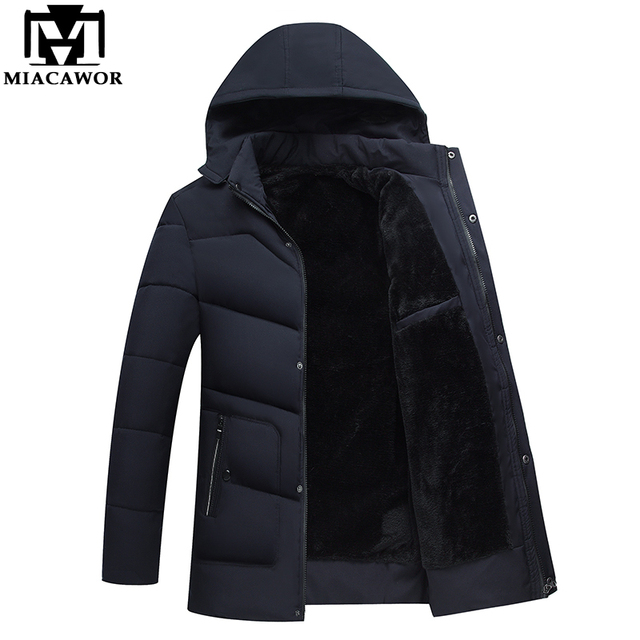 Cheap MIACAWOR New 2018 Men Jacket Coats Thicken Warm Winter Jackets Casual Men Parka Hooded Outwear Cotton-padded Jacket J468