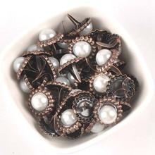 20Pcs 15x16mm Round Pearl Brads For Scrapbooking Crafts Metal Brad Rivets Shoes Decor Embellishment DIY Accessories c2583