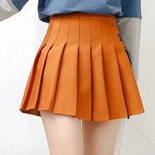 Harajuku dulce estilo alta cintura Mini a-line falda colegiala verano  japonés Casual Brown plisado Falda Mujer Streetwear M222 940eb6300739