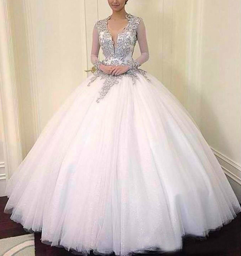 Sparkling Wedding Dresses Arabic Ball Gown V Neck Long