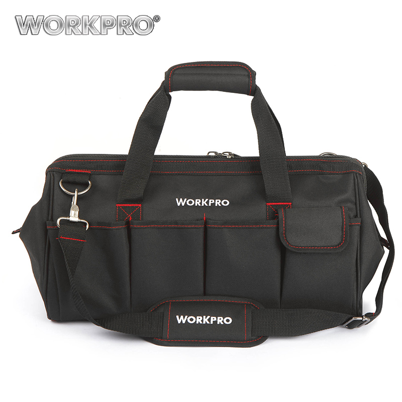 WORKPRO Waterproof Travel Bags Men Crossbody Bag Tool Bags Large Capacity Bag for Tools Hardware W081023AE lexeb business bag men brand high quality genuine leather briefcase 15 laptop men s shoulder bags handbags with multi pockets