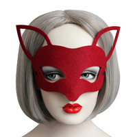 Deep Red Fox Head Headwear half Face Adult Mask Breathable Halloween Masquerade Fancy Party Cos Costume Lovely Animal Mask