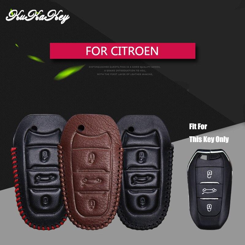 KUKAKEY Genuine Leather Remote Keyless Car Key Case Cover For Citroen C5 C6 C4L C3XR for DS 3 4 5 7 4S Shop Gift Key Holder Bag