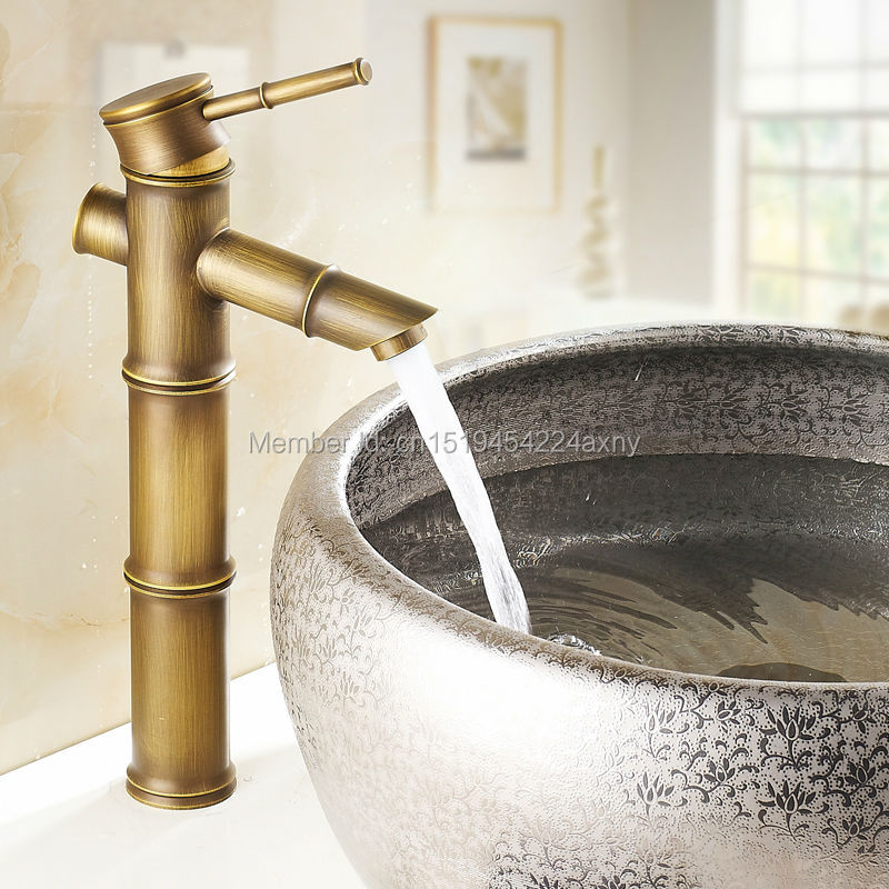 Free Shipping 12 Bamboo Shape Single Handle Antique Bronze Bathroom Basin Sink Faucet Waterfall Spout Vanity Mixer Tap GI37