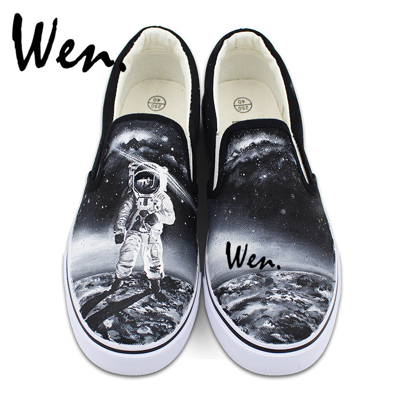Wen Slip on Shoes for Women Hand Painted Shoes Men Black Canvas Sneakers Original Design Spaceman Astronaut Moon Outer Space glowing sneakers usb charging shoes lights up colorful led kids luminous sneakers glowing sneakers black led shoes for boys