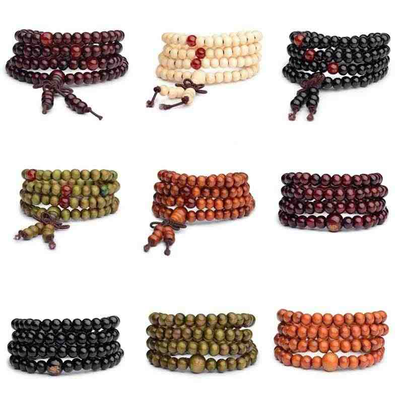 Sandalwood Round Bracelets 6mm 108 Beads Natural Buddhist Buddha Prayer Bead Men Women Bracelets & Bangles Jewelry Multilayer