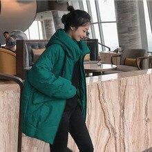 Parkas largas De moda para Mujer 2019 chaqueta acolchada De invierno chaqueta De estilo De ocio para Mujer chaqueta con capucha De bolsillo