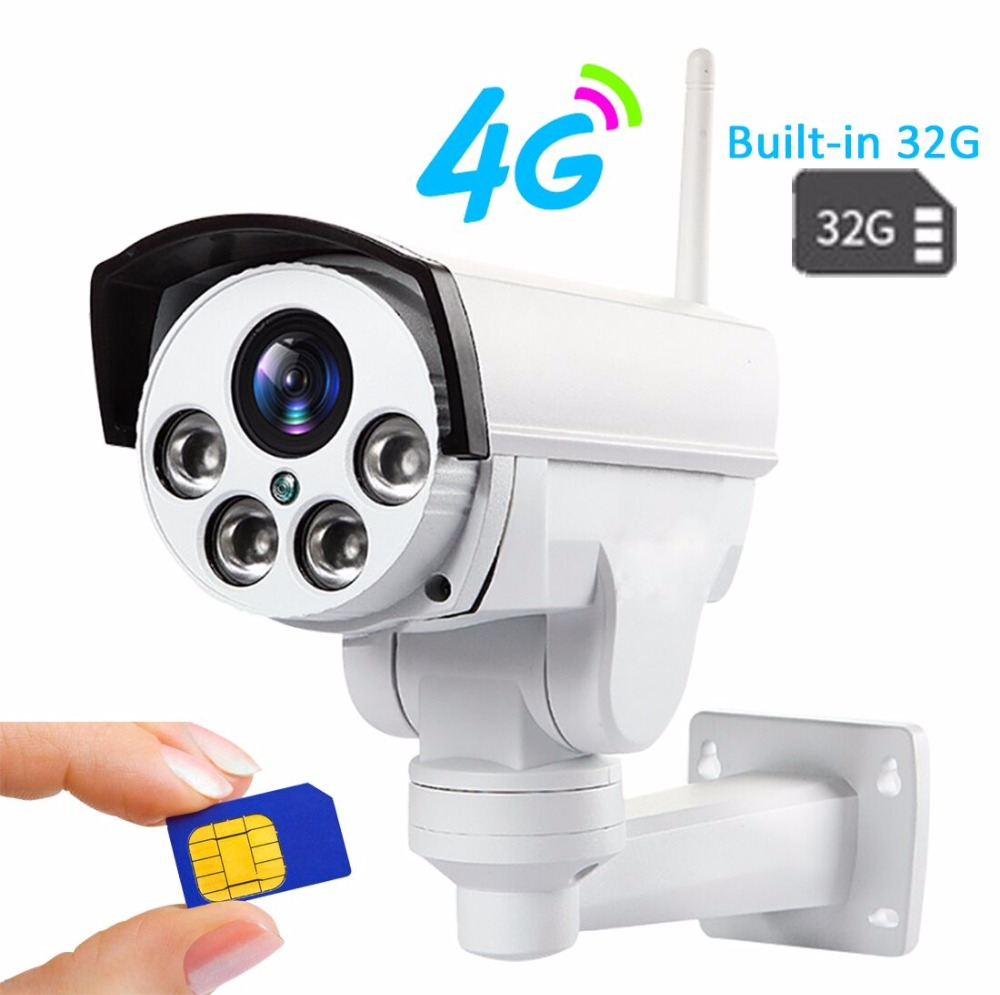 Built-in 32GB HD 960P 1080P 3g 4g Sim Card IP Camera Wifi Outdoor PTZ 5X Zoom Pan Tilt Bullet Camera Wireless Hotspot AP Motion free 32gb sd card ptz cam 1080p 960p 3g 4g sim card camera wifi outdoor hd bullet camera wireless 5x zoom auto focus ip camera
