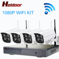 Holdoor 4CH 1080P Wireless NVR Kit Wifi CCTV System 2MP Outdoor Waterproof HD IR Night Vision