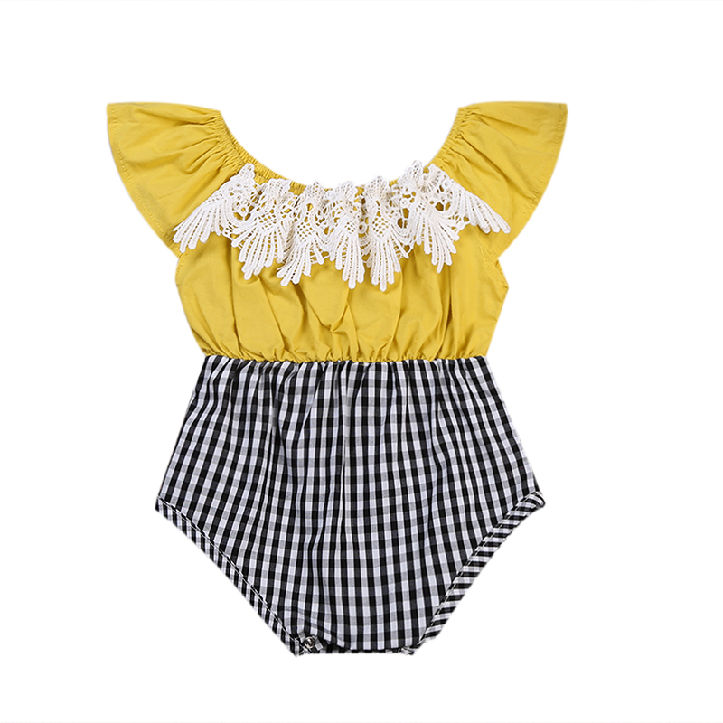 New Cute Baby Girls Rompers Floral Lace Patchwork Infant Kids Girls O-Neck Plaid Jumpsuit Cotton Sleeveless Outfits Romper 0-24M ...