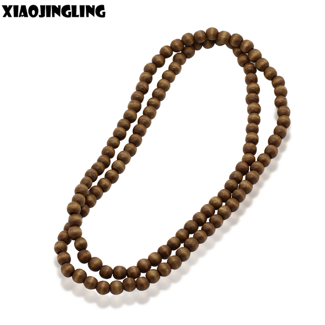 Us 108 5 Offxiaojingling Long Necklaces Wood Beads Catholic Christ 8mm Rosary Bead Cross Pendant Woven Rope Necklace For Women Men Jewelry In