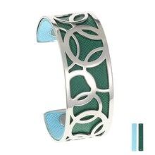 Legenstar Opening Cuff Bangle &Bracelet for Women Stainless Steel Bracelet Argent  Manchette Bangle Interchangeable Leather Band