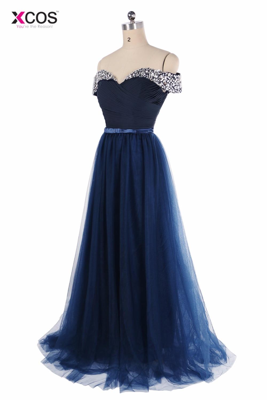 XCOS Elegant Off the Shoulder Navy Blue Prom Dresses 2018 Beading Tulle Crystal Long Evening Gowns abiti da cerimonia donna