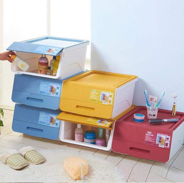 Charming Fashion The New Multifunction Front Opening Plastic Storage Box Stackable  Kids Toys Sorting Box Storage Box