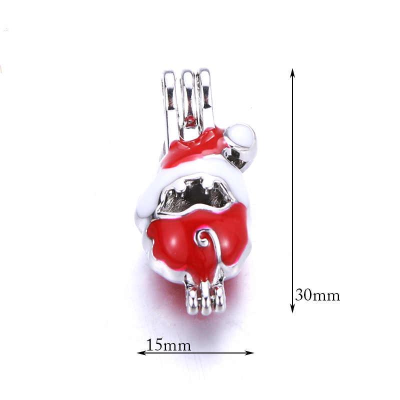 5 uds. Jaula de perlas de Papá Noel rojo medallón colgante joyas jaula de cuentas aceite esencial de aromaterapia caja de difusor para Perla de ostra