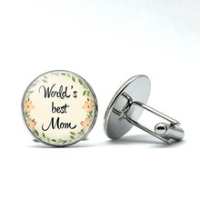 Mom's Cufflinks Flower World's Best Moms Cufflinks Lettering Fashion Shirts Cufflinks Mother's Day Dresses Gifts(China)