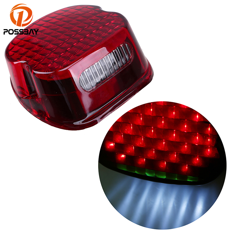 POSSBAY Universal Motorcycle Rear Taillight Motorbike Tail Light Scooter Integrated LED Light Red/White Color Light for Harley