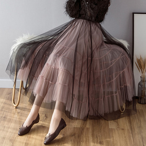 Image 2 - OHRYIYIE faldas de tul de cintura alta para mujer, faldas largas de retazos, tutú para el sol, Jupe largo esponjoso, para primavera y verano, 2020