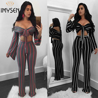 IMYSEN Autumn Winter Sexy Women Two Piece Set Bow Striped Long Sleeve Tops Pants Suit New