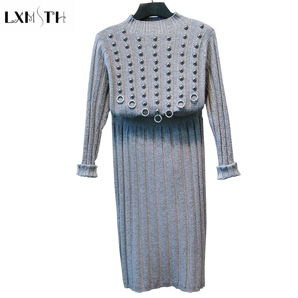 LXMSTH 2019 Autumn Winter Knitted Sweater Skirt Set Women New Rivet Pullover and Solid Skirt Sweater 2 Piece Suits High Quality