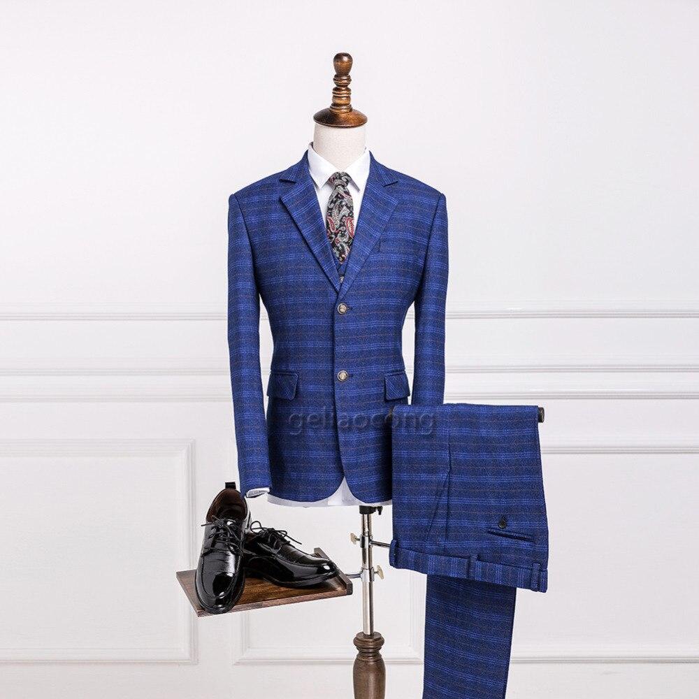 Geliaocong Marka Klasyczny Tweed Wełny Niebieski Jodełkę Retro Groom Smokingi Garnitury Wykonane Na Zamówienie Garnitury męskie Blazer Garnitury Mężczyzn 3 Sztuka