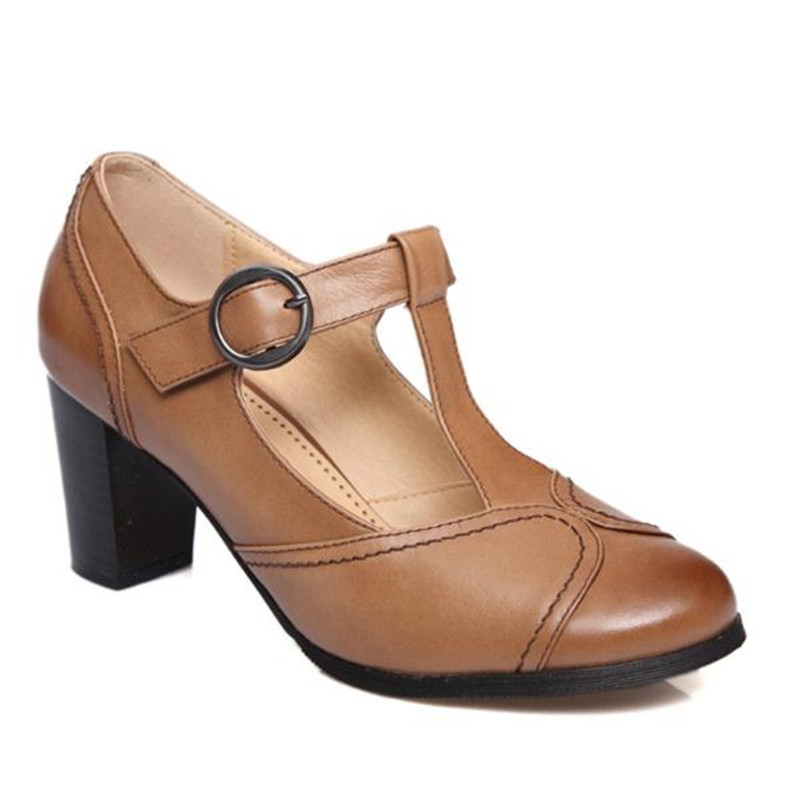 春夏新レトロ丸頭浅い口の本革の女性のハイヒール大サイズの女性靴メアリージェーン靴 Natural TOHAOGO IOW