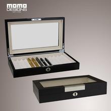 12 ручка коробка для хранения деревянный держатель ручки с стекло окна Карандаш Организатор Витрины
